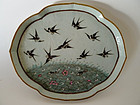 A lovely Tongzhi Period Tray with Magpies, Fish & Lotus