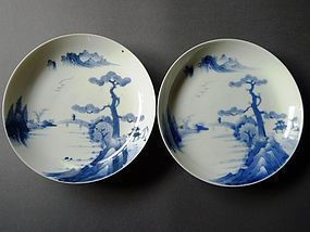A pair of Nabeshima style blue and white dishes