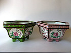 A pair of very decorative hexagonal Canton enamel jardinieres