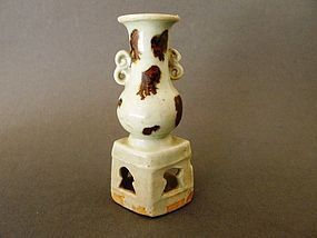 An extremely rare Yuan Altar-vase on stand with iron brown spots