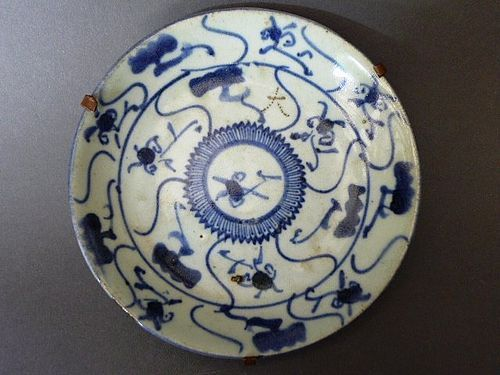A nice marked Qing Dynasty blue and white dish
