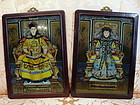 Pair of 19. cent. Reverse Paintings on Glass, Qianlong Emperor&Empress