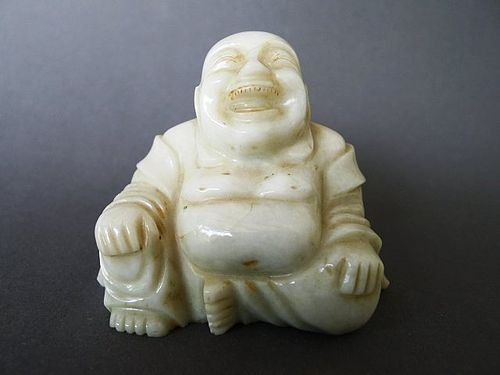 A really nice Seated White Hardstone Figure of Budhai, possibly Jade