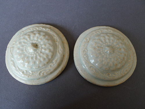 Rare Lids for a pair of moulded Qingbai glazed Yuan small Jars