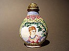 Rare Kanton enamel European-subject snuff bottle !
