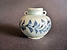 Perfect, mint cond.Yuan Dynasty  blue and white Jarlet.