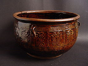 Perfect Jar with an amazing brown glaze probably Song