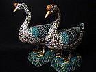 A large and impressive pair of Cloisonne Enamel Swans