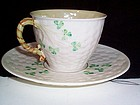 "IRISH BELLEEK ""SHAMROCK"" CUP AND SAUCER GREEN MARK"