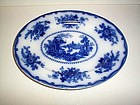 NANKIN FLOW BLUE PLATTER 12'' BY 9'' PPC CO, ENGLAND