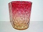 NEW ENGLAND GLASS AMBERINA INVERTED THUMBPRINT TUMBLER
