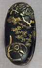 Early 19c Japanese sword KASHIRA FLOWERS