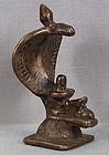 Early 19c Indian bronze SHIVA LINGAM cobra & Nandi