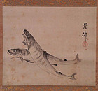 Japanese scroll painting 2 FISH by GAISEN