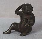 19c Chinese scholar bronze SCROLL WEIGHT MONKEY