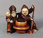 19c netsuke KAKKYO & pot of gold Anraku school