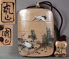 19c Japanese ceramic INRO NETSUKE ojime KENZAN