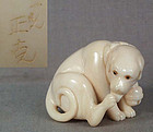 Netsuke DOG with bell by SEIKOKU ex Meredith