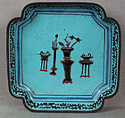 19c Chinese scholar Canton enamel DISH archaic vessels