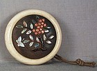 19c netsuke Shibayama BUTTERFLY & berries on bush