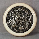 19c Japanese silver netsuke DRAGON & gem