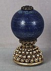 19c Chinese Mandarin HAT BUTTON / FINIAL lapis lazuli