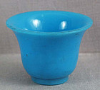 19c PEKING GLASS sky blue altar beaker