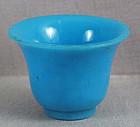 19c PEKING GLASS sky blue altar beaker