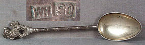 19c Chinese Export silver SPOON Foo lion hallmarked