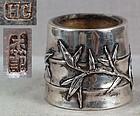 19c Chinese Export silver SALT BAMBOO hallmarked