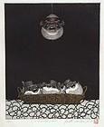 Japanese print FUGU FISH LANTERN by Hiroto Norikane