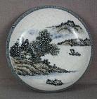 19c Chinese scholar porcelain SEAL PASTE BOX