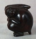 Early 19c netsuke thoughtful MONKEY with bamboo shoot