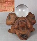 3 MONKEYS with crystal ball by netsuke carver GYOKUZAN
