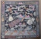19c Chinese textile 3rd RANK BADGE mandarin square