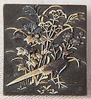 19c Japanese mixed metal BROUCH pheasant & flowers