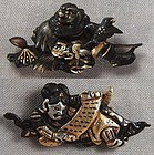 Pair 19c Japanese sword MENUKI IMMORTALS