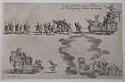 Original 1627 Callot etching from COMBAT A LA BARRIERE