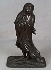 19c Japanese bronze DARUMA crossing the sea
