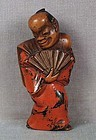 19c Negoro lacquer netsuke DANCER with FAN
