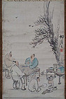 Japanese scroll painting SCHOLARS wine by KOKEISAI
