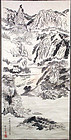 19c Japanese scroll painting LANDSCAPE by SHOKO