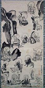19c Japanese scroll painting 16 rakkan by SENKOKU