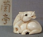 Netsuke neighing HORSE signed RANTEI