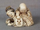 19c netsuke MOTHER BOY 2 masks Ryomin school