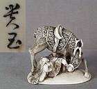 19c netsuke OKAME & DEER by KOGYOKU ex Royal