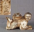 19c netsuke GAMA SENNIN with toad & book by TOMOMASA
