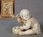 19c netsuke BOY with drum by MASATAKA