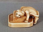 Early 19c netsuke CAT as ratcatcher