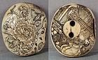 19c Asakusa netsuke PEONY BIRD attributes of Gods